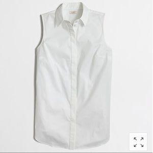 J. Crew White Sleeveless Button-Down Shirt